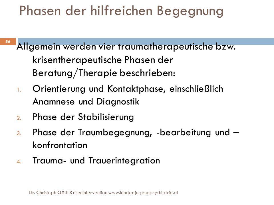 Dr. Christoph Göttl Krisenintervention www.kinder-jugendpsychiatrie.at 56 Phasen der hilfreichen Begegnung Allgemein werden vier traumatherapeutische