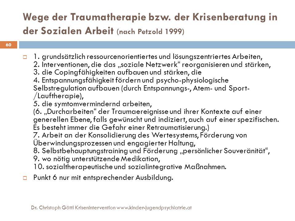 Dr. Christoph Göttl Krisenintervention www.kinder-jugendpsychiatrie.at 60 Wege der Traumatherapie bzw. der Krisenberatung in der Sozialen Arbeit (nach