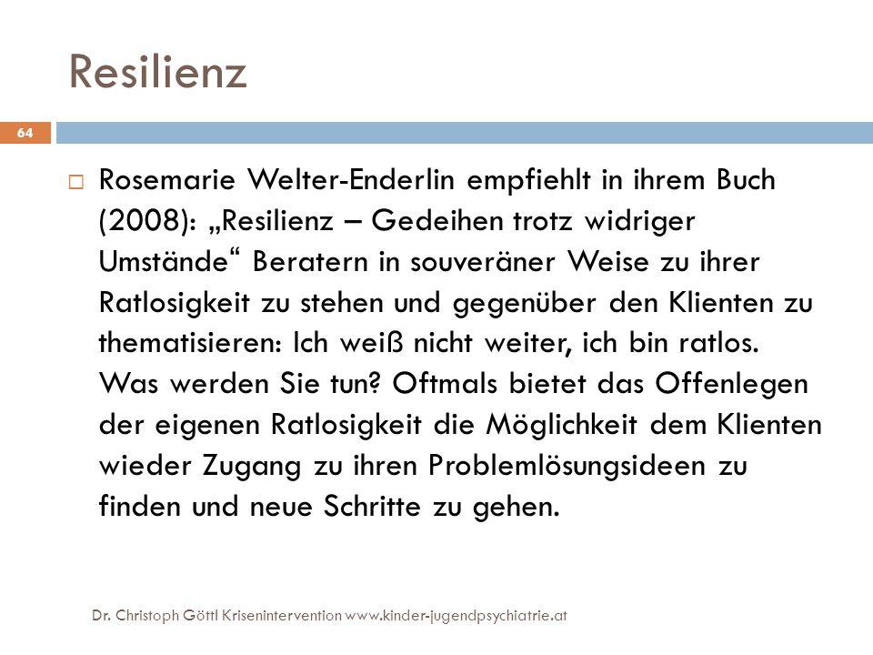 "Dr. Christoph Göttl Krisenintervention www.kinder-jugendpsychiatrie.at 64 Resilienz  Rosemarie Welter-Enderlin empfiehlt in ihrem Buch (2008): ""Resil"