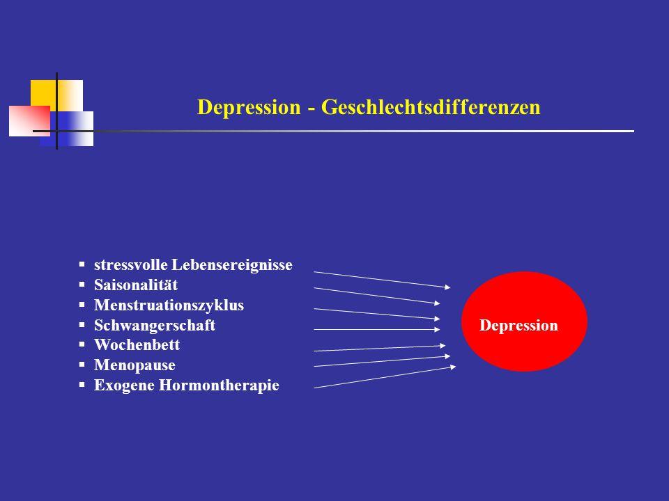 Depression - Geschlechtsdifferenzen  stressvolle Lebensereignisse  Saisonalität  Menstruationszyklus  SchwangerschaftDepression  Wochenbett  Men