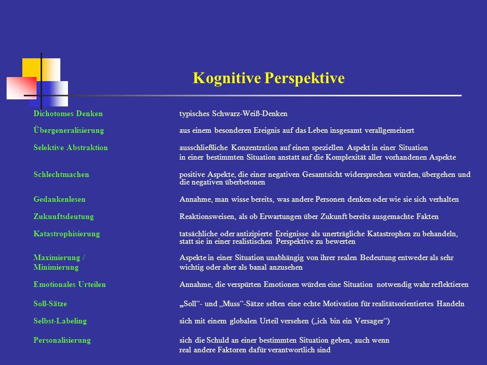 Kognitive Perspektive Dichotomes Denkentypisches Schwarz-Weiß-Denken Übergeneralisierungaus einem besonderen Ereignis auf das Leben insgesamt verallge