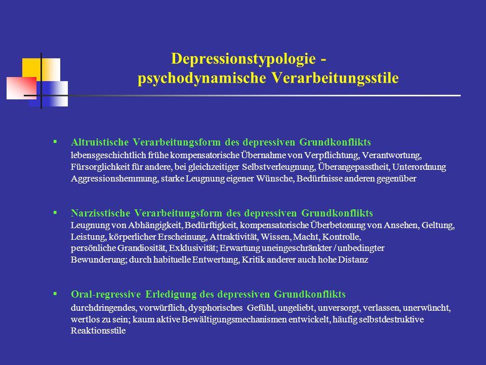 Depressionstypologie - psychodynamische Verarbeitungsstile  Altruistische Verarbeitungsform des depressiven Grundkonflikts lebensgeschichtlich frühe