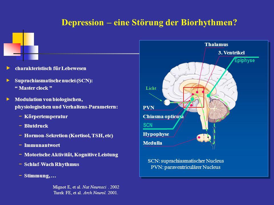 """Depression – eine Störung der Biorhythmen?  charakteristisch für Lebewesen  Suprachiasmatische nuclei (SCN): """" Master clock """"  Modulation von biolo"""