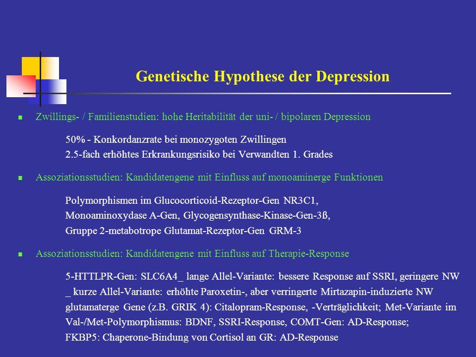 Genetische Hypothese der Depression Zwillings- / Familienstudien: hohe Heritabilität der uni- / bipolaren Depression 50% - Konkordanzrate bei monozygo