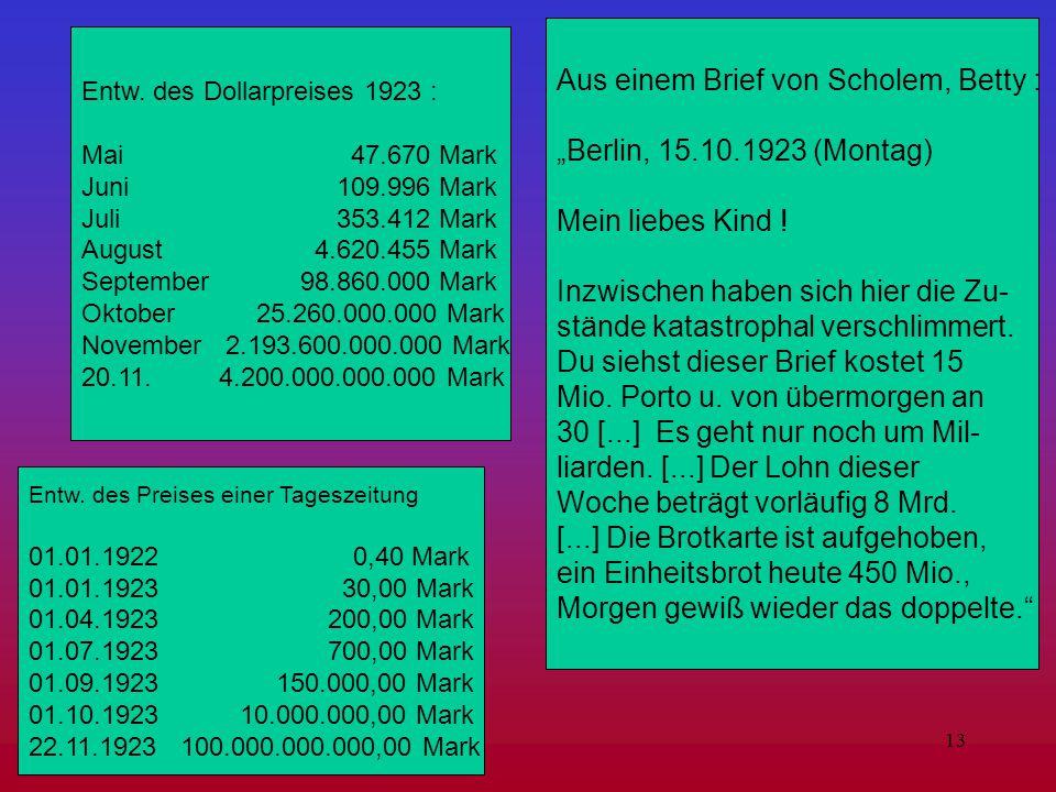 """13 Aus einem Brief von Scholem, Betty : """"Berlin, 15.10.1923 (Montag) Mein liebes Kind ! Inzwischen haben sich hier die Zu- stände katastrophal verschl"""