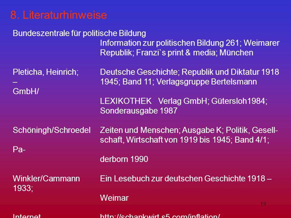 19 8. Literaturhinweise Bundeszentrale für politische Bildung Information zur politischen Bildung 261; Weimarer Republik; Franzi`s print & media; Münc