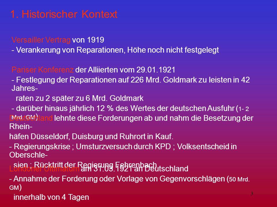3 1. Historischer Kontext Versailler Vertrag von 1919 - Verankerung von Reparationen, Höhe noch nicht festgelegt Pariser Konferenz der Alliierten vom