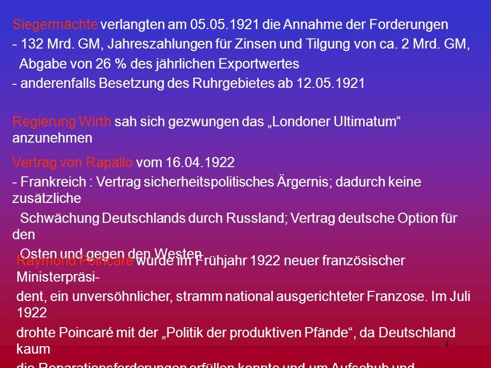 4 Siegermächte verlangten am 05.05.1921 die Annahme der Forderungen - 132 Mrd. GM, Jahreszahlungen für Zinsen und Tilgung von ca. 2 Mrd. GM, Abgabe vo