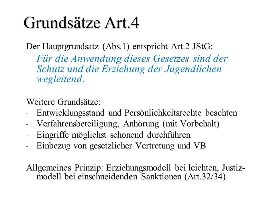 Grundsätze Art.4 Der Hauptgrundsatz (Abs.1) entspricht Art.2 JStG: Für die Anwendung dieses Gesetzes sind der Schutz und die Erziehung der Jugendliche