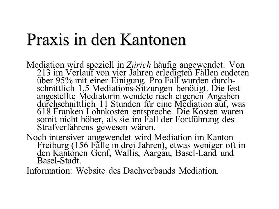 Praxis in den Kantonen Praxis in den Kantonen Mediation wird speziell in Zürich häufig angewendet. Von 213 im Verlauf von vier Jahren erledigten Fälle