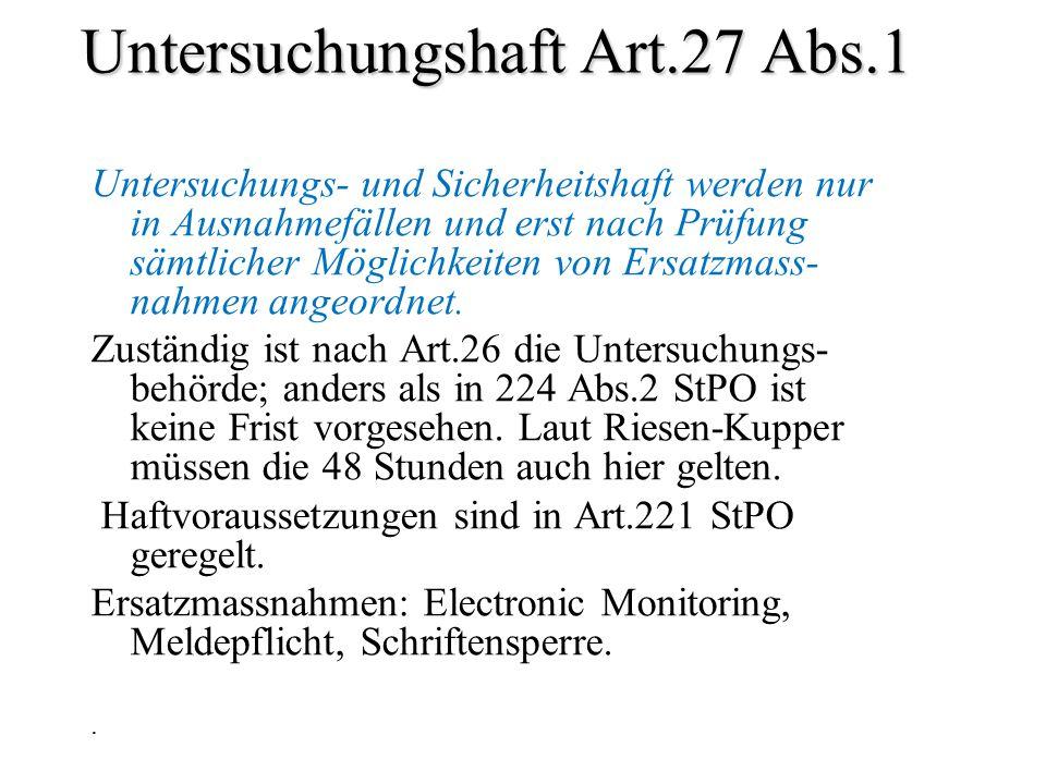 Untersuchungshaft Art.27 Abs.1 Untersuchungs- und Sicherheitshaft werden nur in Ausnahmefällen und erst nach Prüfung sämtlicher Möglichkeiten von Ersa