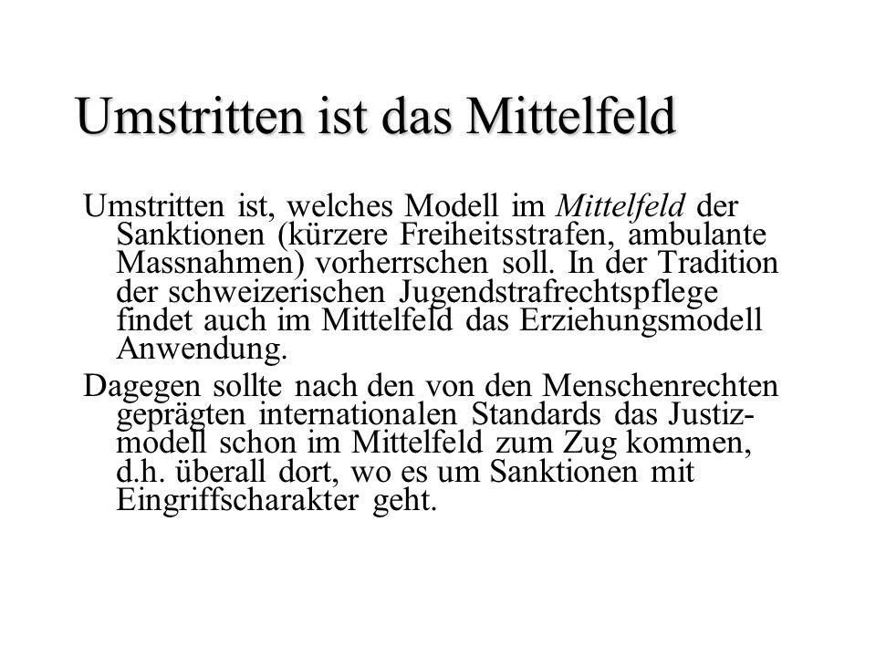Umstritten ist das Mittelfeld Umstritten ist, welches Modell im Mittelfeld der Sanktionen (kürzere Freiheitsstrafen, ambulante Massnahmen) vorherrsche