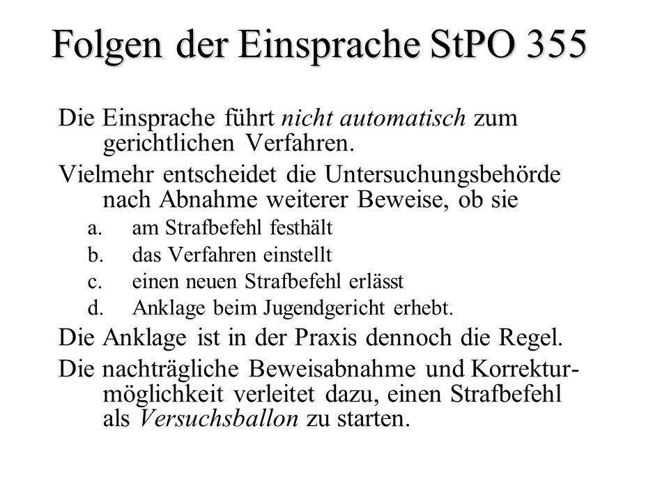 Folgen der Einsprache StPO 355 Die Einsprache führt nicht automatisch zum gerichtlichen Verfahren. Vielmehr entscheidet die Untersuchungsbehörde nach