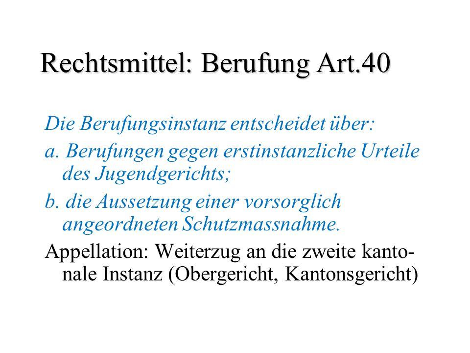 Rechtsmittel: Berufung Art.40 Die Berufungsinstanz entscheidet über: a. Berufungen gegen erstinstanzliche Urteile des Jugendgerichts; b. die Aussetzun