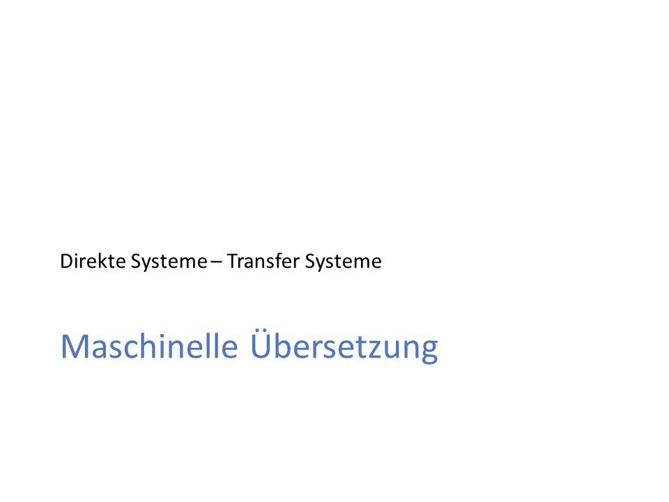 Maschinelle Übersetzung Direkte Systeme – Transfer Systeme