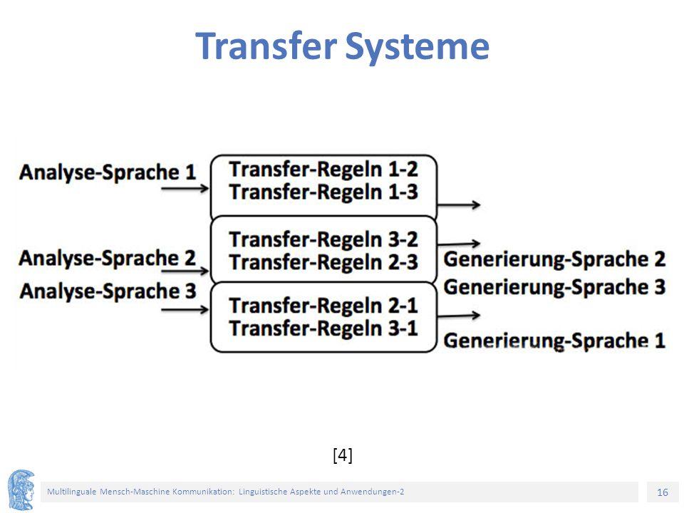 16 Multilinguale Mensch-Maschine Kommunikation: Linguistische Aspekte und Anwendungen-2 Transfer Systeme [4]