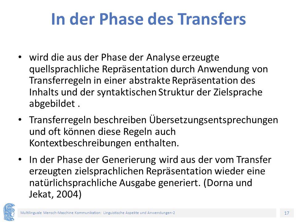 17 Multilinguale Mensch-Maschine Kommunikation: Linguistische Aspekte und Anwendungen-2 In der Phase des Transfers wird die aus der Phase der Analyse