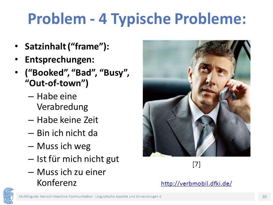 """30 Multilinguale Mensch-Maschine Kommunikation: Linguistische Aspekte und Anwendungen-2 Problem - 4 Typische Probleme: Satzinhalt (""""frame""""): Entsprech"""