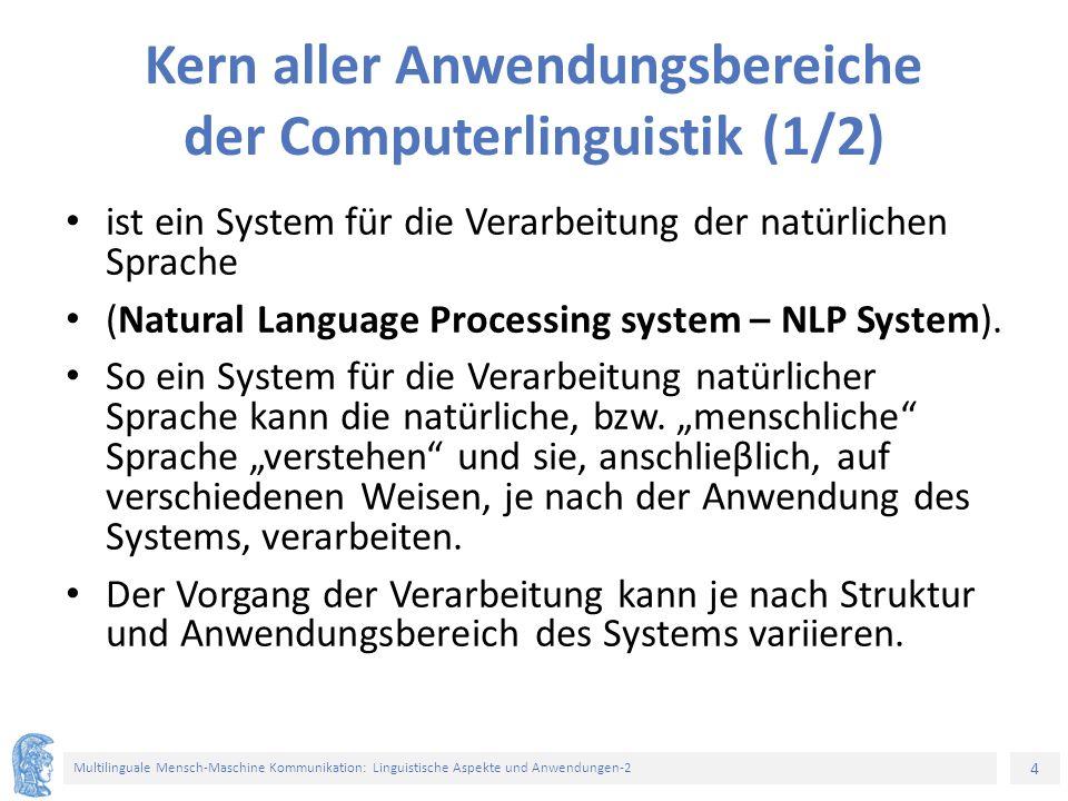 4 Multilinguale Mensch-Maschine Kommunikation: Linguistische Aspekte und Anwendungen-2 Kern aller Anwendungsbereiche der Computerlinguistik (1/2) ist