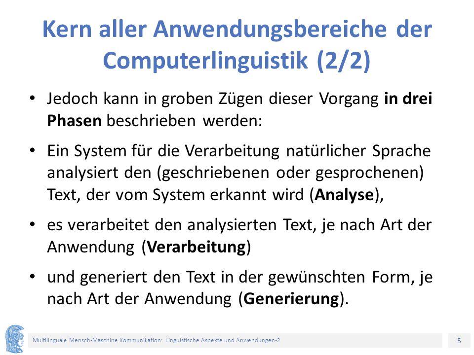 5 Multilinguale Mensch-Maschine Kommunikation: Linguistische Aspekte und Anwendungen-2 Kern aller Anwendungsbereiche der Computerlinguistik (2/2) Jedo