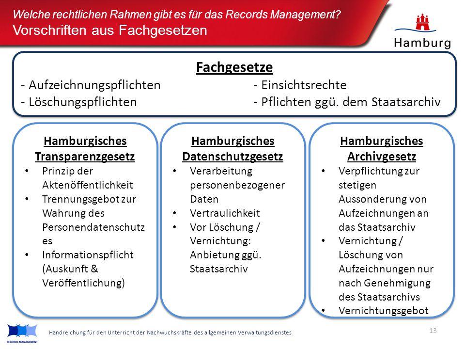 13 Handreichung für den Unterricht der Nachwuchskräfte des allgemeinen Verwaltungsdienstes Welche rechtlichen Rahmen gibt es für das Records Managemen