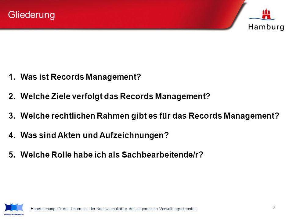 Gliederung 1. Was ist Records Management? 2. Welche Ziele verfolgt das Records Management? 3. Welche rechtlichen Rahmen gibt es für das Records Manage