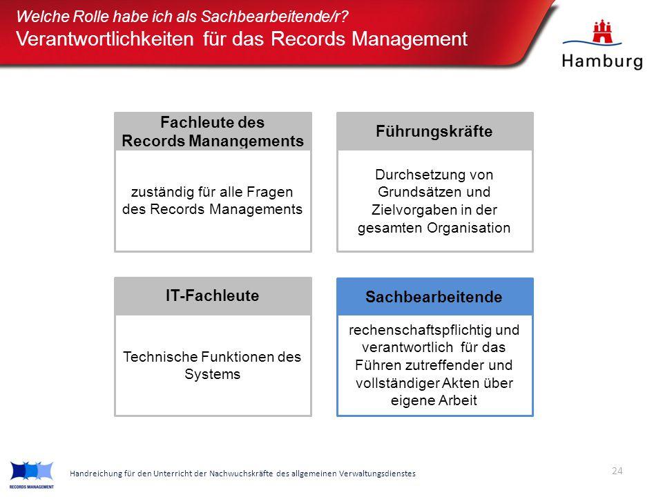 Fachleute des Records Manangements zuständig für alle Fragen des Records Managements Sachbearbeitende rechenschaftspflichtig und verantwortlich für da