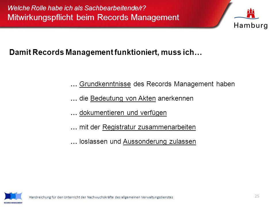 Welche Rolle habe ich als Sachbearbeitende/r? Mitwirkungspflicht beim Records Management … Grundkenntnisse des Records Management haben … die Bedeutun