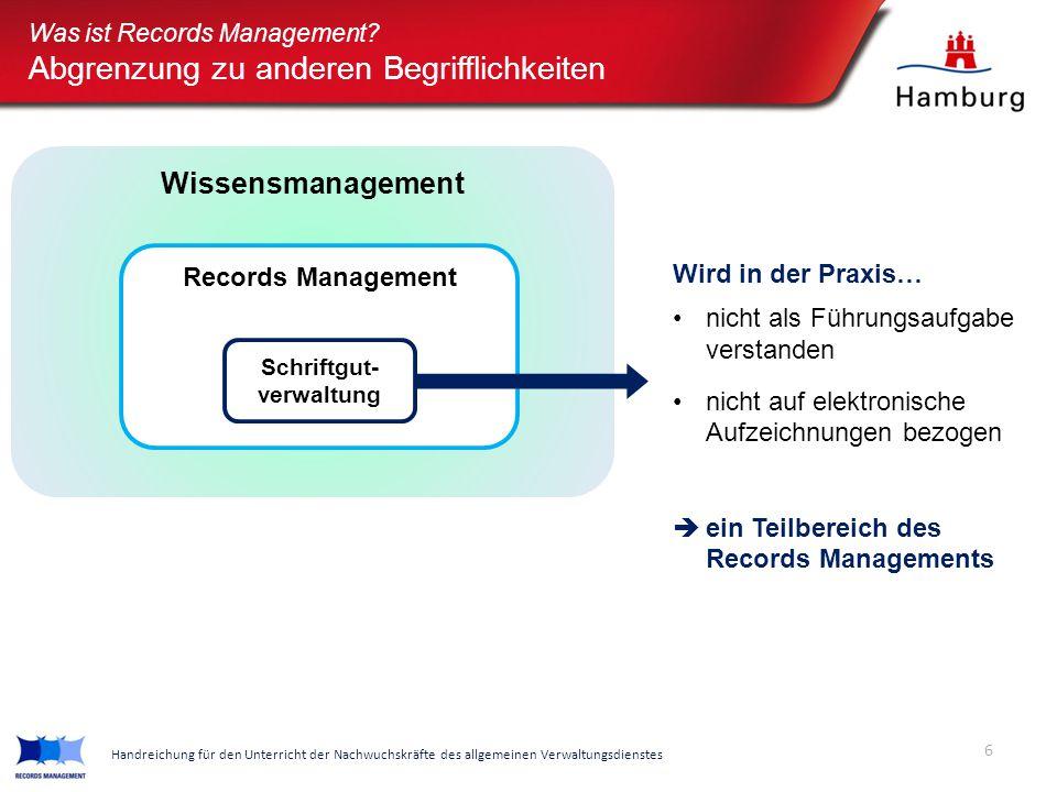 Wissensmanagement Was ist Records Management? Abgrenzung zu anderen Begrifflichkeiten Wird in der Praxis… nicht als Führungsaufgabe verstanden nicht a