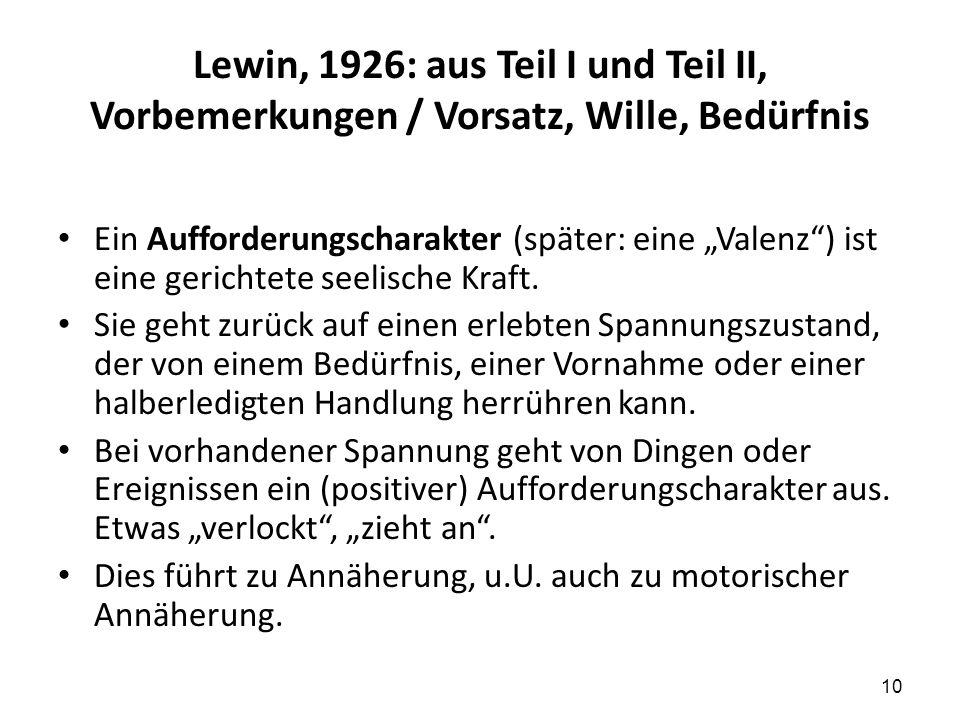 """Lewin, 1926: aus Teil I und Teil II, Vorbemerkungen / Vorsatz, Wille, Bedürfnis Ein Aufforderungscharakter (später: eine """"Valenz"""") ist eine gerichtete"""