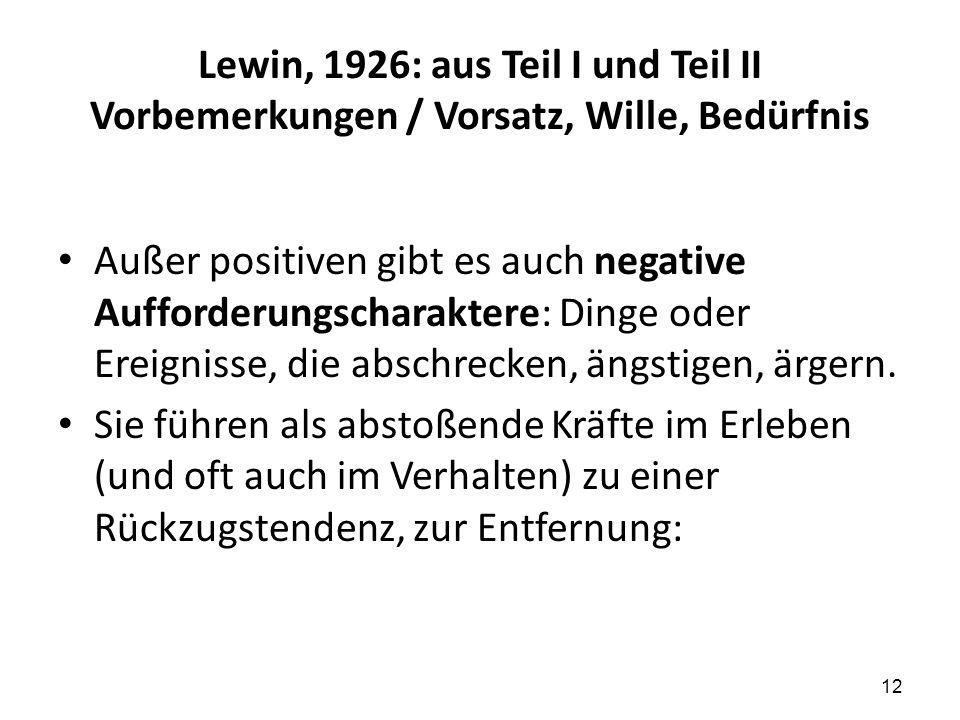 Lewin, 1926: aus Teil I und Teil II Vorbemerkungen / Vorsatz, Wille, Bedürfnis Außer positiven gibt es auch negative Aufforderungscharaktere: Dinge od