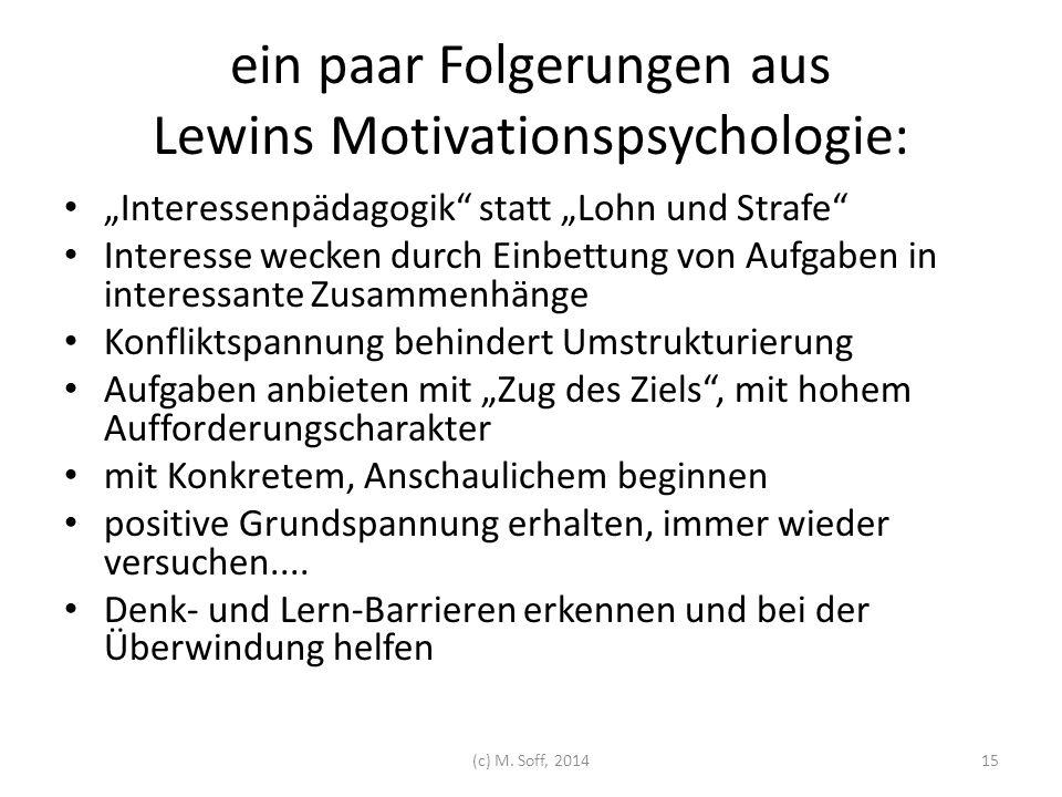 """ein paar Folgerungen aus Lewins Motivationspsychologie: """"Interessenpädagogik"""" statt """"Lohn und Strafe"""" Interesse wecken durch Einbettung von Aufgaben i"""