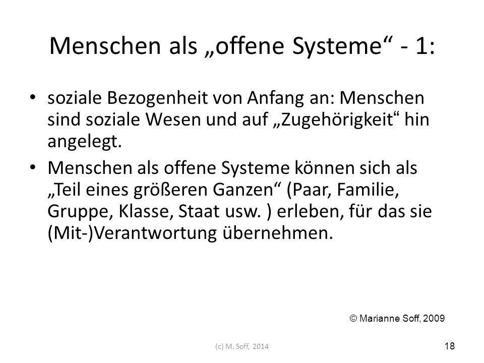 """Menschen als """"offene Systeme"""" - 1: soziale Bezogenheit von Anfang an: Menschen sind soziale Wesen und auf """"Zugehörigkeit"""" hin angelegt. Menschen als o"""