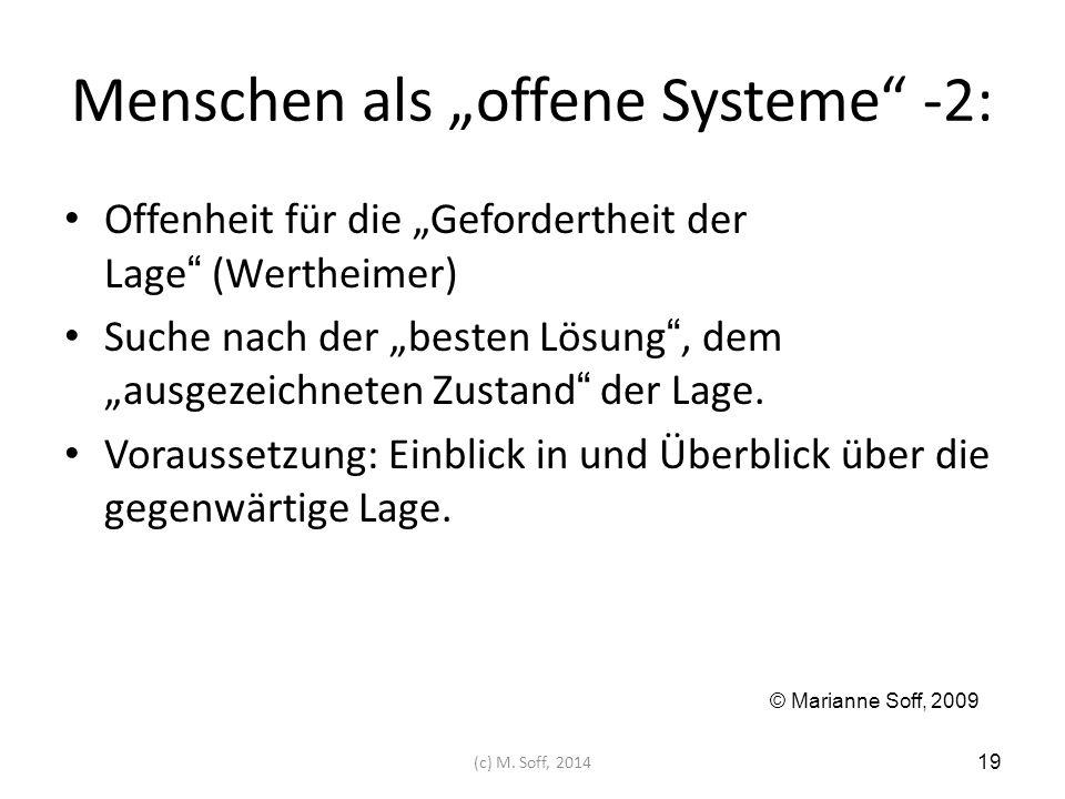 """Menschen als """"offene Systeme"""" -2: Offenheit für die """"Gefordertheit der Lage"""" (Wertheimer) Suche nach der """"besten Lösung"""", dem """"ausgezeichneten Zustand"""
