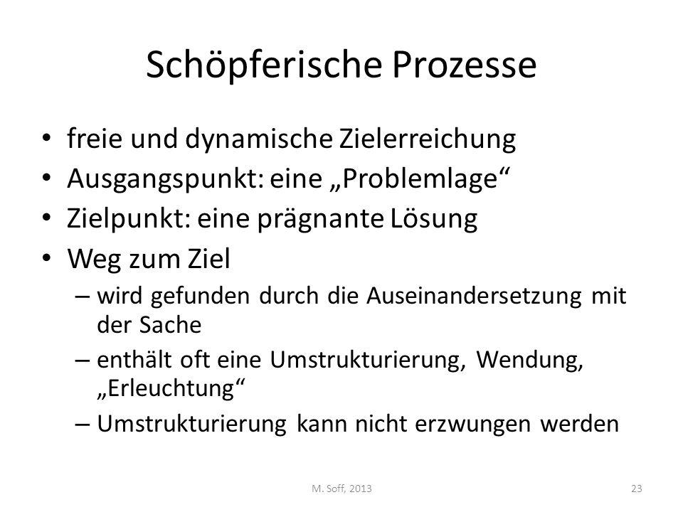 """Schöpferische Prozesse freie und dynamische Zielerreichung Ausgangspunkt: eine """"Problemlage"""" Zielpunkt: eine prägnante Lösung Weg zum Ziel – wird gefu"""