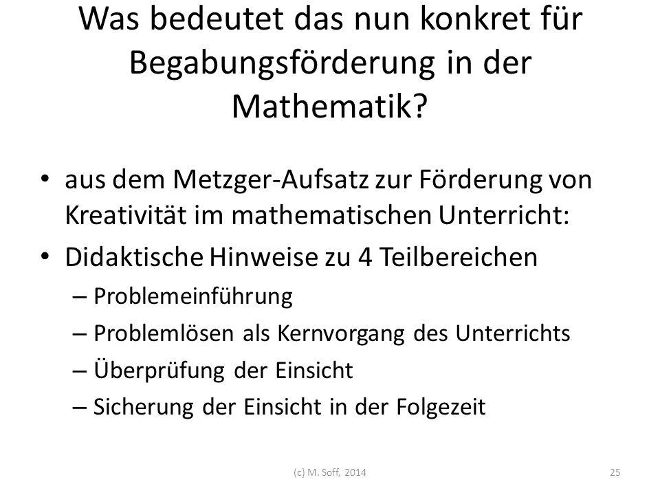 Was bedeutet das nun konkret für Begabungsförderung in der Mathematik? aus dem Metzger-Aufsatz zur Förderung von Kreativität im mathematischen Unterri