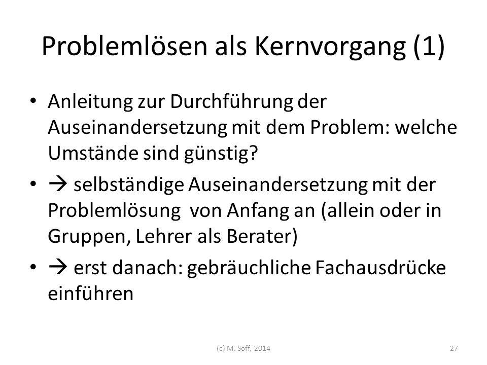 Problemlösen als Kernvorgang (1) Anleitung zur Durchführung der Auseinandersetzung mit dem Problem: welche Umstände sind günstig?  selbständige Ausei