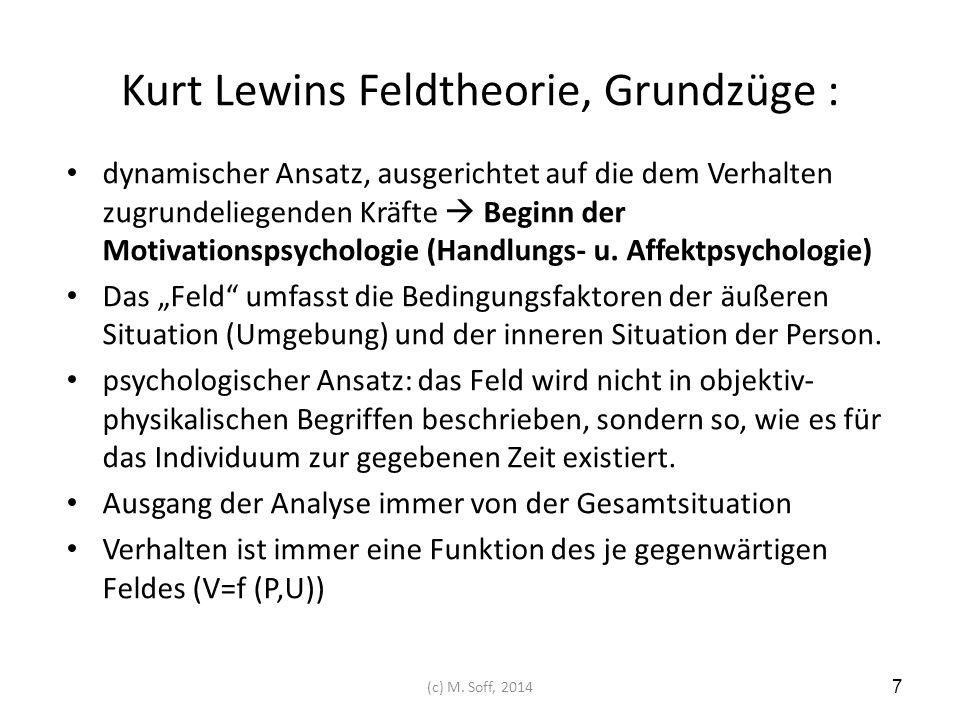 Kurt Lewins Feldtheorie, Grundzüge : dynamischer Ansatz, ausgerichtet auf die dem Verhalten zugrundeliegenden Kräfte  Beginn der Motivationspsycholog