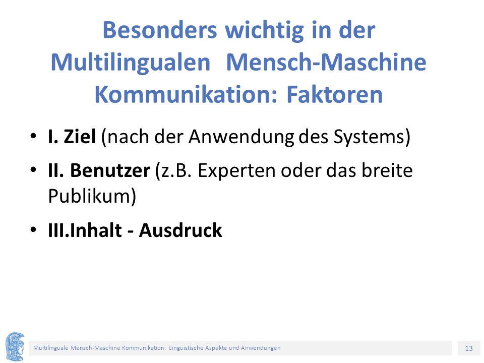 13 Multilinguale Mensch-Maschine Kommunikation: Linguistische Aspekte und Anwendungen Besonders wichtig in der Multilingualen Mensch-Maschine Kommunikation: Faktoren I.