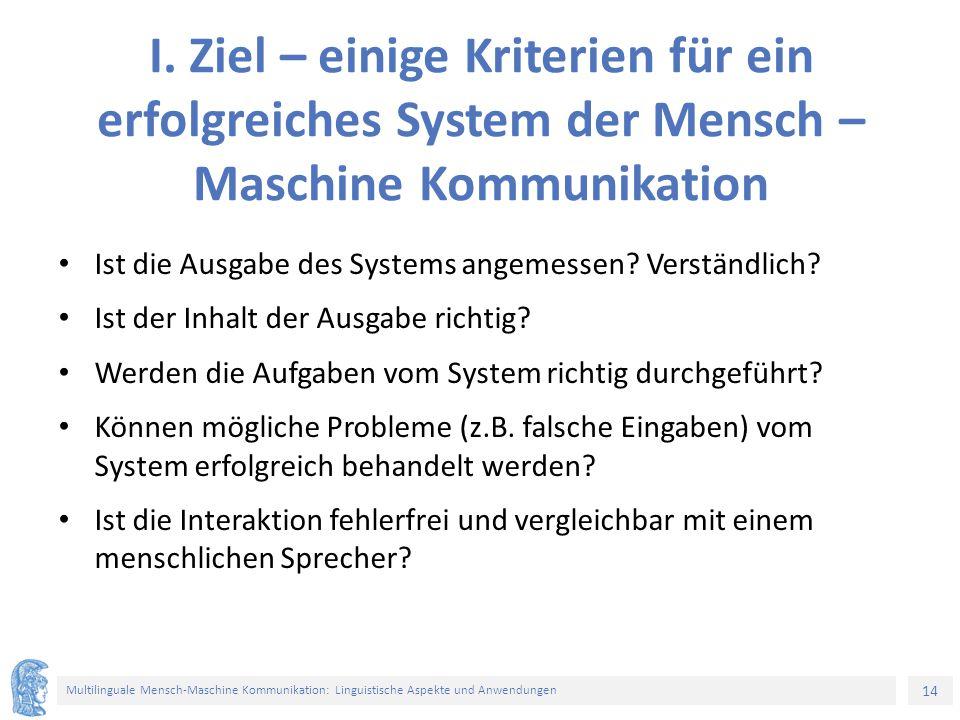 14 Multilinguale Mensch-Maschine Kommunikation: Linguistische Aspekte und Anwendungen I.