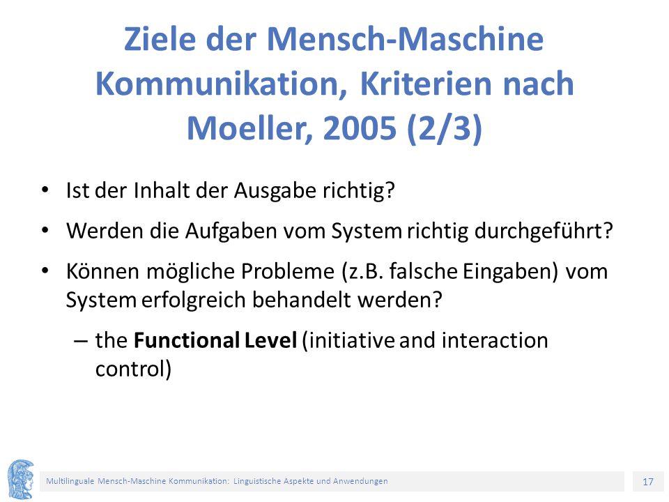 17 Multilinguale Mensch-Maschine Kommunikation: Linguistische Aspekte und Anwendungen Ziele der Mensch-Maschine Kommunikation, Kriterien nach Moeller, 2005 (2/3) Ist der Inhalt der Ausgabe richtig.