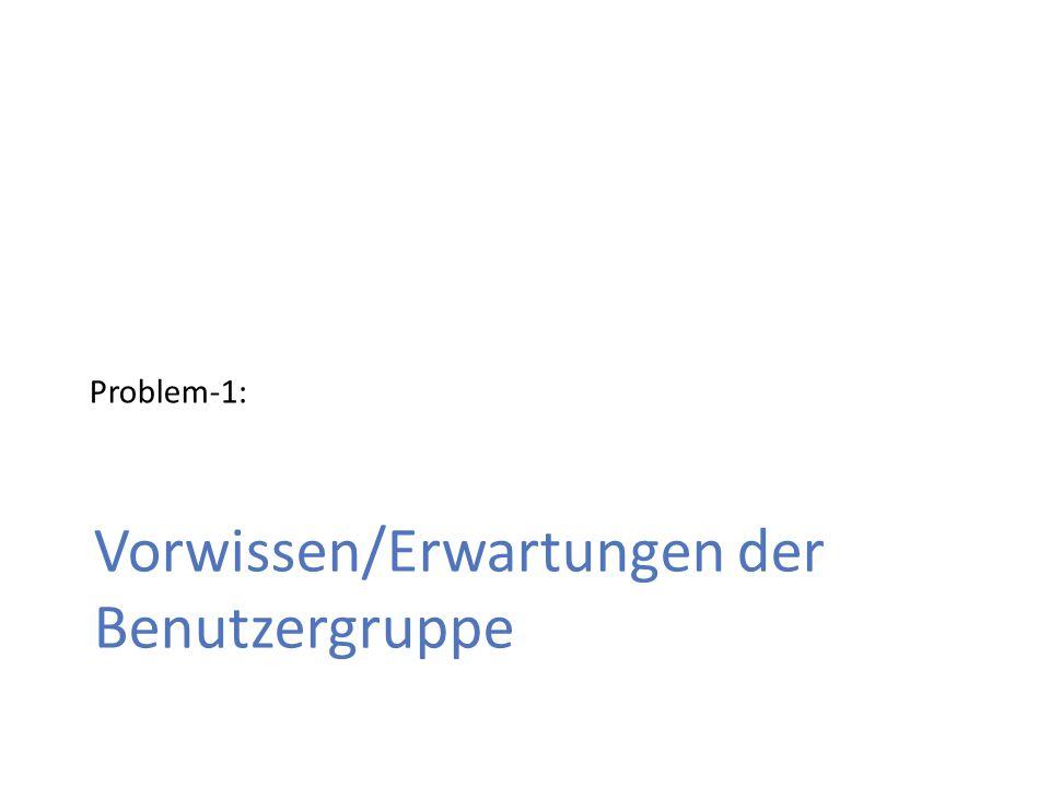 Vorwissen/Erwartungen der Benutzergruppe Problem-1: