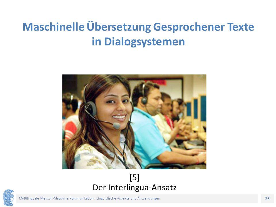 33 Multilinguale Mensch-Maschine Kommunikation: Linguistische Aspekte und Anwendungen [5] Der Interlingua-Ansatz Maschinelle Übersetzung Gesprochener Texte in Dialogsystemen