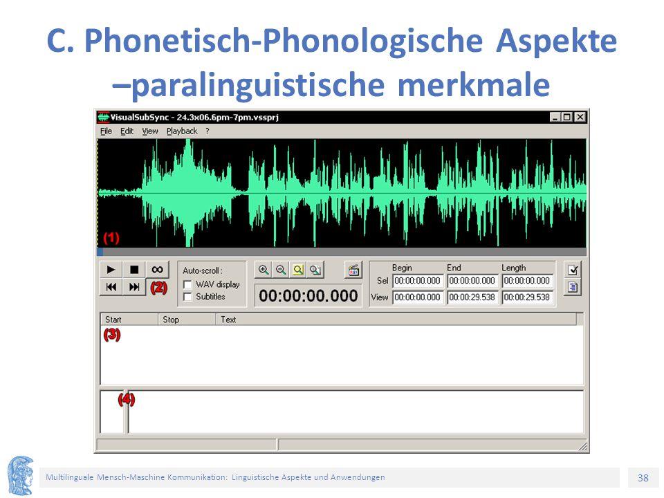 38 Multilinguale Mensch-Maschine Kommunikation: Linguistische Aspekte und Anwendungen C.