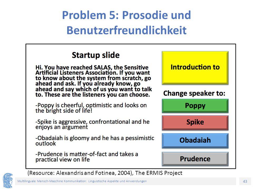 43 Multilinguale Mensch-Maschine Kommunikation: Linguistische Aspekte und Anwendungen Problem 5: Prosodie und Benutzerfreundlichkeit (Resource: Alexandris and Fotinea, 2004), The ERMIS Project