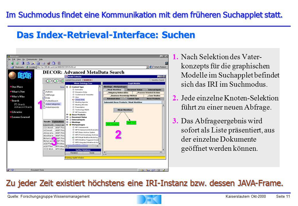 Quelle: Forschungsgruppe WissensmanagementKaiserslautern Okt-2000Seite 11 Das Index-Retrieval-Interface: Suchen 1.Nach Selektion des Vater- konzepts für die graphischen Modelle im Suchapplet befindet sich das IRI im Suchmodus.