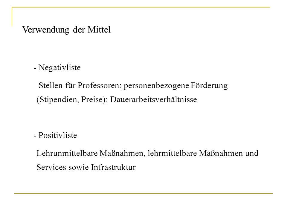 Verwendung der Mittel - Negativliste Stellen für Professoren; personenbezogene Förderung (Stipendien, Preise); Dauerarbeitsverhältnisse - Positivliste
