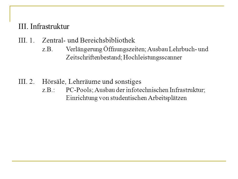 III. Infrastruktur III. 1.Zentral- und Bereichsbibliothek z.B. Verlängerung Öffnungszeiten; Ausbau Lehrbuch- und Zeitschriftenbestand; Hochleistungssc