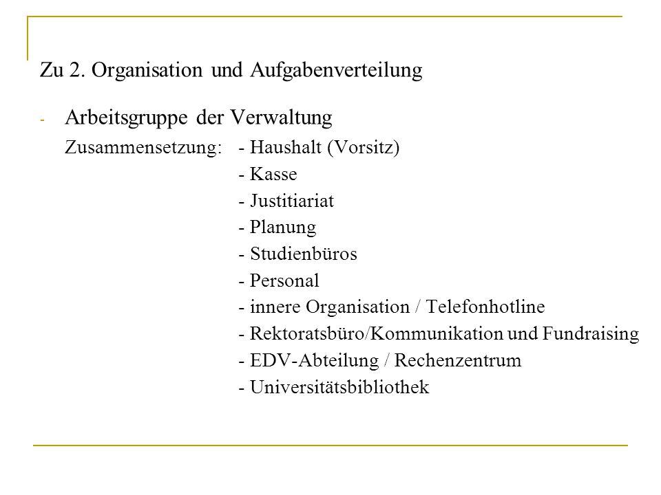 Zu 2. Organisation und Aufgabenverteilung - Arbeitsgruppe der Verwaltung Zusammensetzung: - Haushalt (Vorsitz) - Kasse - Justitiariat - Planung - Stud