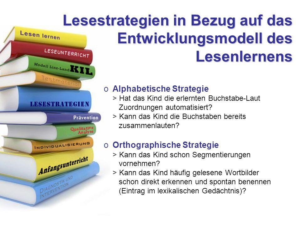 Lesestrategien in Bezug auf das Entwicklungsmodell des Lesenlernens oAlphabetische Strategie > Hat das Kind die erlernten Buchstabe-Laut Zuordnungen automatisiert.